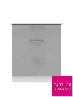 SWIFT Montreal Gloss Ready Assembled 3 Drawer Graduated Chest