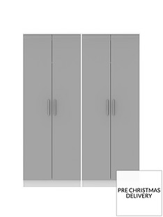 SWIFT Montreal Gloss Ready Assembled Tall 4 Door Wardrobe