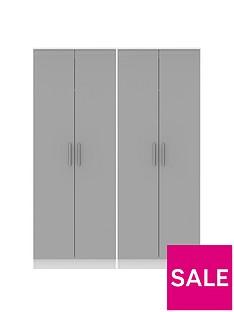 SWIFT Montreal Gloss Ready Assembled Tall 4 Door Wardrobe
