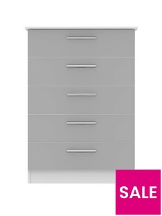 SWIFT Montreal Gloss Ready Assembled Tall 5 Drawer Chest