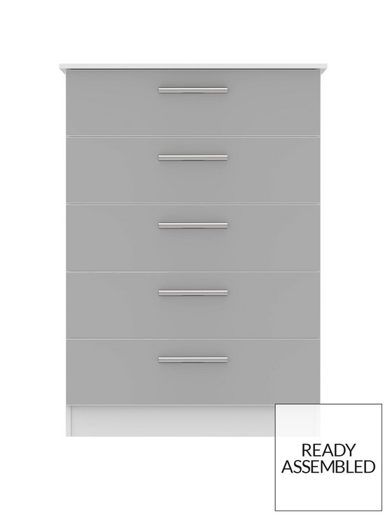 release date: a3093 58ed4 Montreal Gloss Ready Assembled Tall 5 Drawer Chest