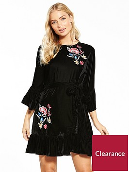 v-by-very-embroided-velvet-wrap-dress