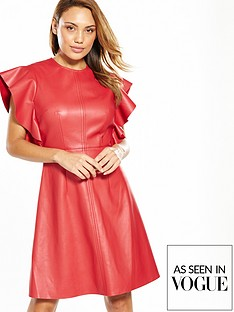 v-by-very-leather-look-frill-sleeve-dress