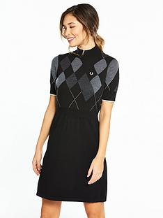 fred-perry-argyle-knitted-dress