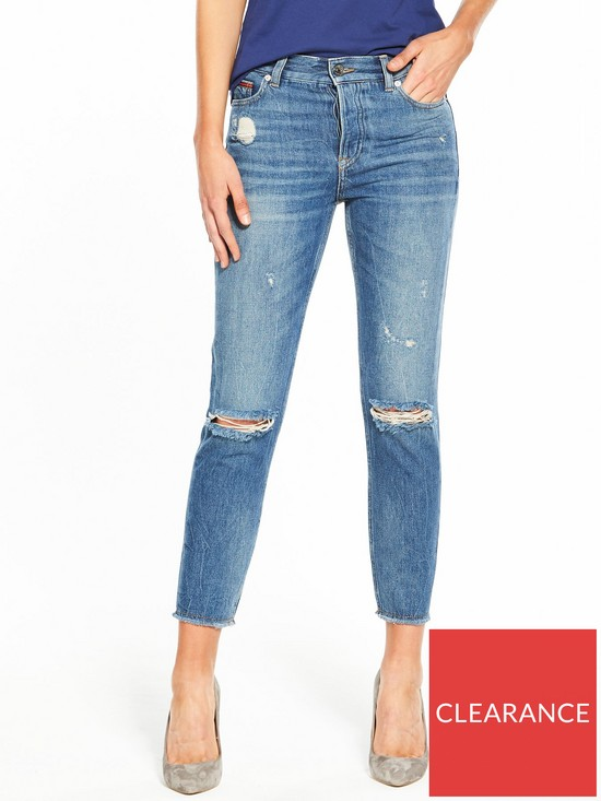 19fe07cd9 Tommy Jeans Denim High Rise Slim Izzy Ripped Jeans - Blue | very.co.uk