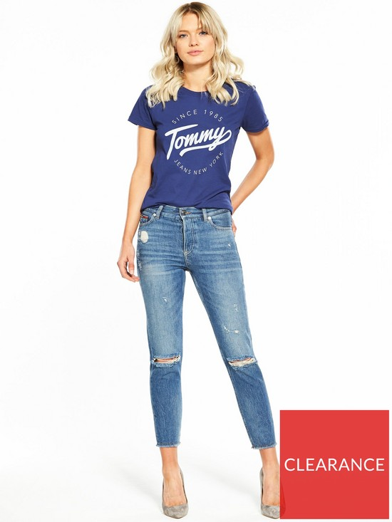 fc73ebf3c ... Tommy Jeans Denim High Rise Slim Izzy Ripped Jeans - Blue. View larger