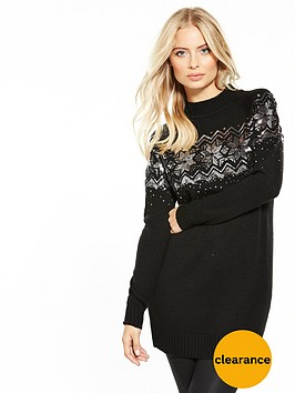 v-by-very-sequin-embellished-fairisle-tunic-jumper