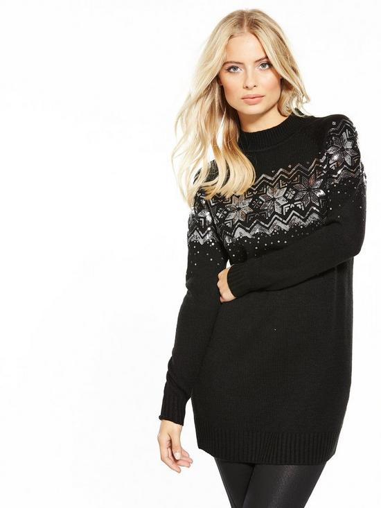 V by Very Sequin Embellished Fairisle Tunic Jumper | very.co.uk