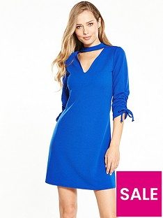 v-by-very-crepe-ruched-detail-choker-dress-cobalt-blue