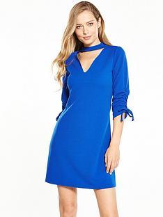 v-by-very-ruched-detail-choker-dress-cobalt-blue