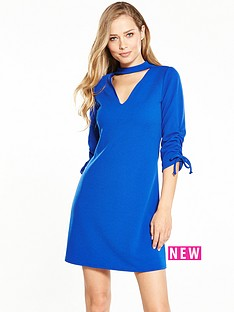 v-by-very-ruched-detail-choker-dress-cobalt-blue