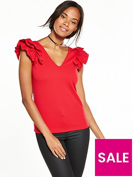 v-by-very-ruffle-shoulder-crepe-top-red