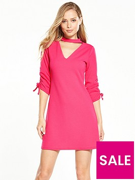 v-by-very-crepe-ruched-detail-choker-dress-hot-pink