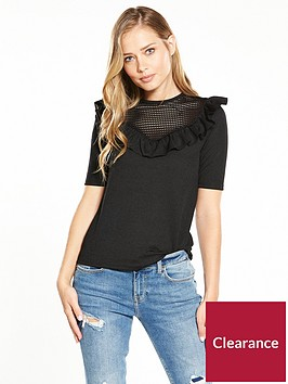 v-by-very-ruffle-mesh-top-black