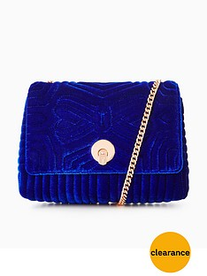 ted-baker-velvet-quilted-bow-chain-strap-crossbody-bright-blue