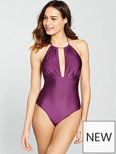 v-by-very-shimmer-pleated-keyhole-swimsuit