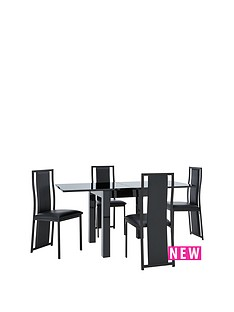 gloss-square-to-rectangle-80-160cm-extending-dining-table-4-nevada-chairs
