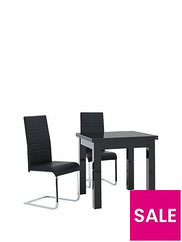 gloss-square-to-rectangle-80-160-cm-extending-dining-table-2-jet-chairs