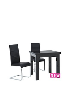 gloss-square-to-rectangle-table-80-160cm-extending-dining-table-2-jet-chairs