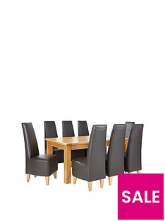 oakland-170-cm-solid-wood-dining-table-8-manhattan-chairs