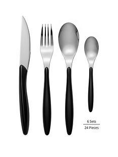 swan-oslo-black-24-piece-cutlery-set