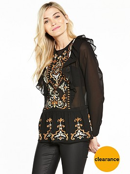 v-by-very-embroidered-ruffle-frill-hem-blouse
