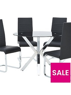 chopstick-100cm-glass-and-chrome-round-dining-table-4-jet-chairs