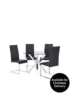 chopstick-100-cm-glass-and-chrome-round-dining-table-4-black-jet-chairs