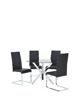 chopstick-100-cm-glass-and-chrome-round-dining-table-4-jet-chairs