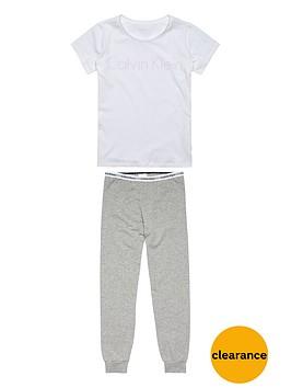 calvin-klein-girls-short-sleeve-logo-pyjama