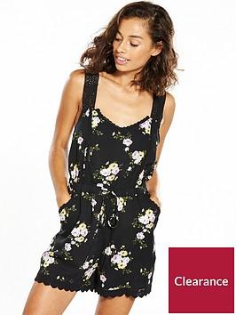 miss-selfridge-petite-black-floral-lace-trim-playsuit