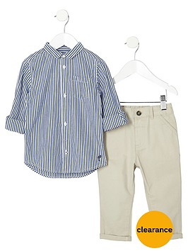 river-island-mini-boys-navy-stripe-shirt-and-chinos-outfit