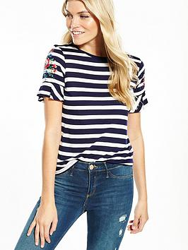 oasis-embroidered-stripe-fluted-sleeve-tee