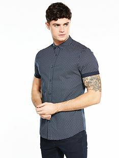 v-by-very-short-sleeve-geo-print-stretch-shirt