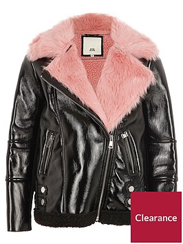 river-island-girls-black-vinyl-pink-borg-aviator-jacket