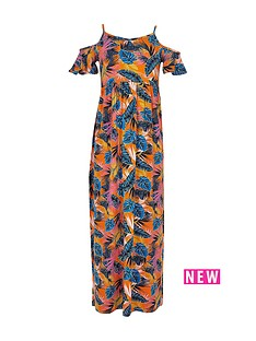 river-island-girls-orange-print-cold-shoulder-maxi-dress