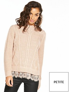 v-by-very-petite-lace-hem-lurex-knit-jumper