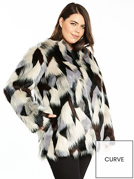 V by Very Curve Faux Fur Coat | very.co.uk
