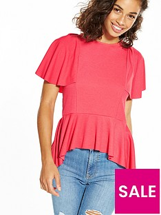 v-by-very-petite-ruffle-sleeve-peplum-top