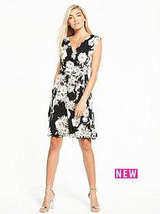 wallis-monochrome-drawn-floral-wrap-top-dress