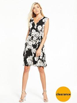 wallis-monochrome-drawn-floral-wrap-top-dress