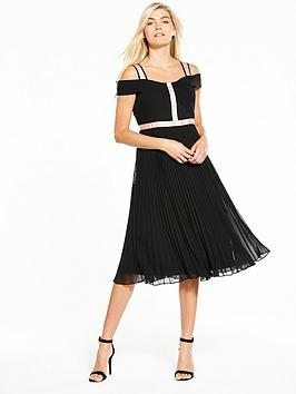 Phase Eight Alania Pleated Dress - Tearose/Black