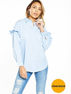 v-by-very-oversized-frill-sleeve-shirt-blue