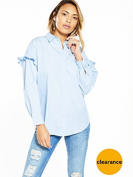 v-by-very-oversized-frill-sleeve-shirt-blue
