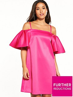 warehouse-satin-off-shoulder-dress