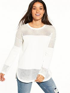 warehouse-mesh-sleeve-longline-jumper-cream