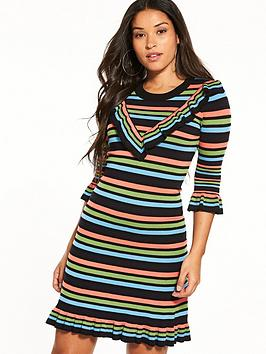 warehouse-knitted-frill-stripe-dress