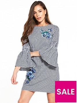 warehouse-delia-embroidery-gingham-shift-dress-navy