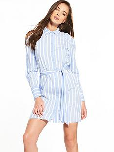 warehouse-button-sleeve-cold-shoulder-stripe-shirt-dress
