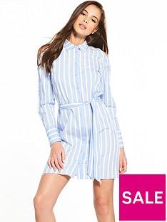warehouse-button-sleeve-cold-shoulder-stripe-shirt-dress